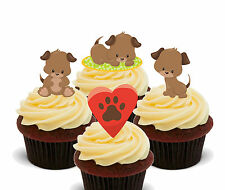 Playful Puppies, Edible Cup Cake Toppers - Stand-up Fairy Decorations, Kids Girl