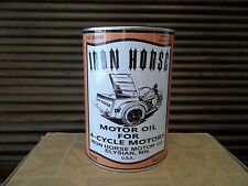 IRON HORSE MOTOR OIL 4-CYCLE MOTORS TIN QUART CAN COIN BANK, Servi-Car, Flathead