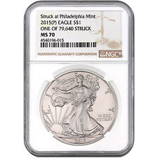 """2015 (P) Silver Eagle NGC MS70 """"One of 79,640 Struck"""" label"""