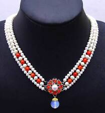"""6-7mm White Round Natural FW pearl & Green jade 3 strands 18-19"""" necklace-ne6104"""