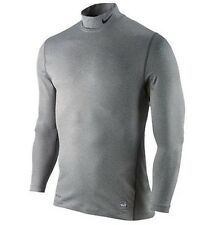 $50 Nike Golf Men's Pro Combat Fitted Long Sleeve Mock Neck Shirt Gray Grey XL