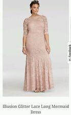 Illusion Glitter Lace Long Mermaid Dress