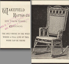 ca. 1880 Wakefield Rattan Co Chair Chicago Vcitorian Furniture Advertising Card