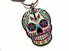 Sugar Skull with Anchor Day of the Dead Dios De Los Muertos Keychain ring