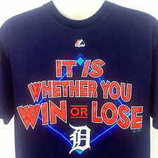 Detroit Tigers T Shirt Majestic MLB Blue IT IS WHETHER YOU WIN OR LOSE Medium