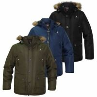 New Mens Kangol Parka Jacket Fur Hooded Ripstop Fabric Padded Lined Winter Coat