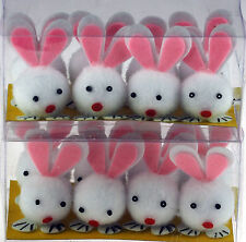 Set Of 16 Pom Pom Cute Bunnies - Bunny Rabbit Craft Accessory For Easter Bonnets