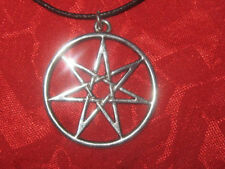 SILVER 35MM WICCAN 7 POINTED FAIRY STAR HEPTAGRAM USA CHARM PENDANT NECKLACE