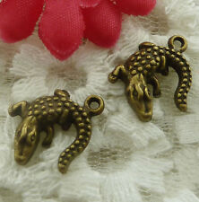 free ship 60 pieces bronze plated lizard charms 17x14mm #2209