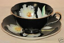 Antique Occupied Japan Porcelain China Black White Orchid Floral Teacup/Saucer