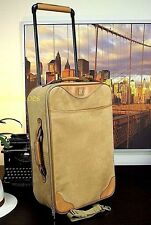 "HARTMANN 23"" Ltd Edn Leather Ultra Suede Rolling Suitcase Luggage Travel Bag"