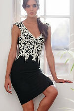 Short Women Summer Black Lace Sleeve Party Evening Cocktail Midi Work Dress New