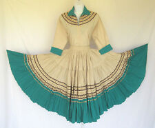 VINTAGE 1950s 60s SOUTHWESTERN NATIVE ETHNIC SKIRT & TOP COTTON LINEN? RIBBON