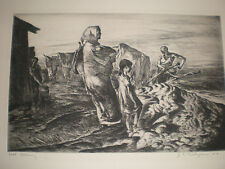 John E. Costigan 'Fall Plowing' Limited Edition Original Etching singed