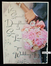 Luxury Wedding Day Card To A Daughter And Son In Law ~ Very Best Quality ~ Verse