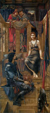 KING cophetua e il mendicante MAID Burne-Jones 100% Cotone Tela Stampa Immagine