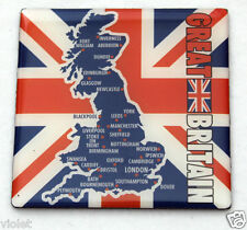 Union Jack & map of Great Britain square fridge magnet NEW perfect England UK GB