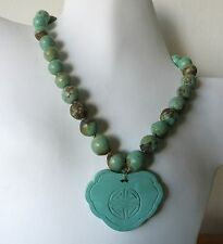 ANTIQUE VINTAGE CHINESE CARVED NATURAL TURQUOISE BEADS PENDANT NECKLACE 102gm