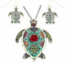 "Large Sea Turtle Pendant Necklace Earring Set Mosaic Design 24"" Snake Chain"