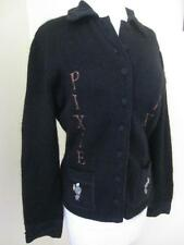RARE JC DE Castelbajac Black Mohair Cardigan Sweater PIXIE & DIXIE Mouse Mice M