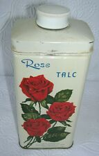 Vintage Rose Talc Talcum Powder Full Can from Velta New York, Oakland & St Louis