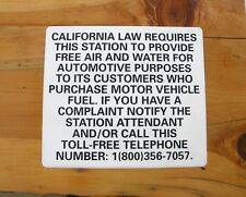 "FREE AIR & WATER CALIFORNIA GAS STATION SIGNS 15"" x 13"" VINYL LAMINATED DECAL"