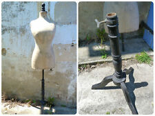 Antique French 1900 couturiers Mannequin corset waist / black wood foot