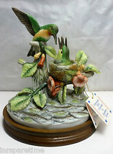 VINTAGE ARNART ROYAL CROWN by JAMES BYRON PORCELAIN HUMMINGBIRDS w/WOOD BASE