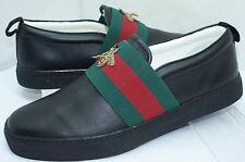 Gucci Mens Shoes Black Loafers Drivers Bee Web Miro Soft Size G 8.5 Leather NIB