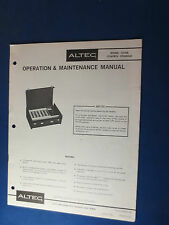 ALTEC 1210A CONTROL CONSOLE OPERATION MAINTENANCE MANUAL ORIGINAL