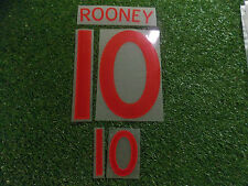 England Football Wayne Rooney No10 2010-2012 Red Official Name and Number Set