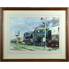 Signed Framed Ward Watercolour Painting GWR W Somerset Railway Locomotive Train