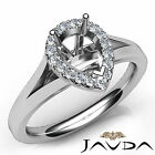 Halo Pave Setting Pear Diamond Engagement 14k White Gold Semi Mount Ring 0.2Ct