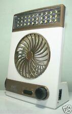 3 in 1 Solar Rechargeable Multi Purpose Fan Light Emergency 30 LED Lamp(Gold)