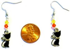 HALLOWEEN CAT EARRINGS-BLACK CATS-ENAMEL/ORANGE/YELLOW SWAROVSKI BEADS