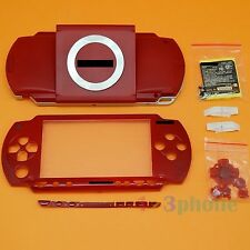 FULL HOUSING UMD COVER+OUTER LENS+BUTTON SET+SCREW SET FOR SONY PSP 1000 RED