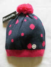 BNWT Girls BENCH Candy Bow Blue & Pink Knitted Beanie Bobble Hat Size M/L