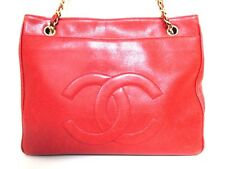 Authentic CHANEL Red Caviar Skin Shoulder Bag