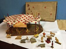 Antique PA-JO Circus Days Wood Board Play Set Wooden Animals Tent more..