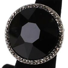 """1.10"""" black crystal pave round stretch cocktail ring"""