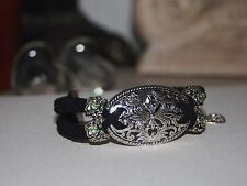 Braided Faux Suede Bracelet Victorian Oval Charm & White Gold Roses Light Green