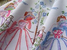 Vintage Hand Embroidered Table Cloth-PRETTY CRINOLINE LADIES HOLDING FANS