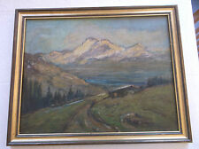 FRAMED OIL ON CANVAS PAINTING circa 1900 A STUDY OF A PATH THROUGH MOUNTAINS