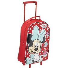 NEW OFFICIAL Minnie Mouse Disney Girls Wheeled Case Luggage Suitcase Travel Bag