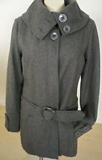 NEW ROXY GRAY WOOL COAT Large L Button Front Removeable Belt Pockets PERFECT