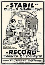 Walther Holzbaukasten Berlin Reklame von 1926 Stabil Record Baukasten Werbung ad