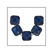 6 Cubic Zirconia Square Cushion Beads 6mm Dark Sapphire Blue #64927