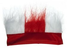 ENGLAND ST GEORGE FOOTBALL FAN HEADBAND WITH RED AND WHITE HAIR SUPPORTERS WIG