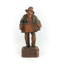 Antique German Hand Carved and Painted Wood Figure of Accordian Player Musician