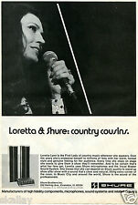 1974 Print Ad of Shure Vocal Master Sound System with Loretta Lynn